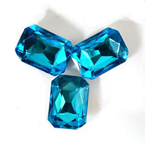 FidgetKute Aquamarine Emerald Cut Rhinestones Point Back Crystals Glass Nail Art Strass 13x18mm (100ps)
