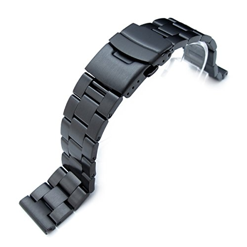 20mm-SOLID-316L-Stainless-Steel-Super-Oyster-Straight-End-Watch-Band-PVD-Black