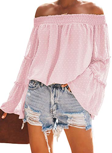 Asvivid Womens Off The Shoulder Tops Dot Printed Strapless Bell Sleeve Chiffon Loose Autumn Blouses S Pink