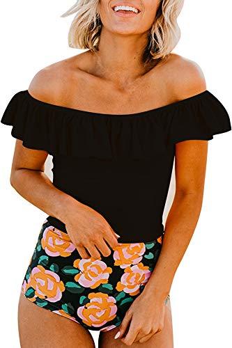 (JOXJOZ Women Two Piece Swimsuit Off Shoulder Flounce Tankini Top High Waisted Bottom Bikini Set Swimwear (Black Top, L))