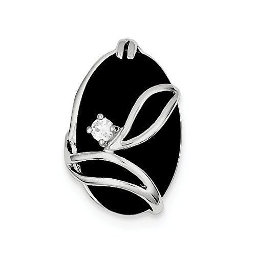 ICE CARATS 925 Sterling Silver Black Onyx Cubic Zirconia Cz Slide Chain Fine Jewelry Ideal Mothers Day Gifts For Mom Women Gift Set From (Black Onyx Sterling Silver Slide)