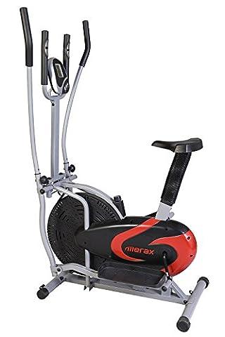Merax Elliptical Bike 2-in-1 Cross Trainer Upright Exercise Fan Bike (Black&Red) - Home Elliptical Trainer