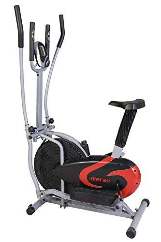 Merax Elliptical Bike 2-in-1 Cross Trainer Upright Exercise Fan Bike (Black&Red)