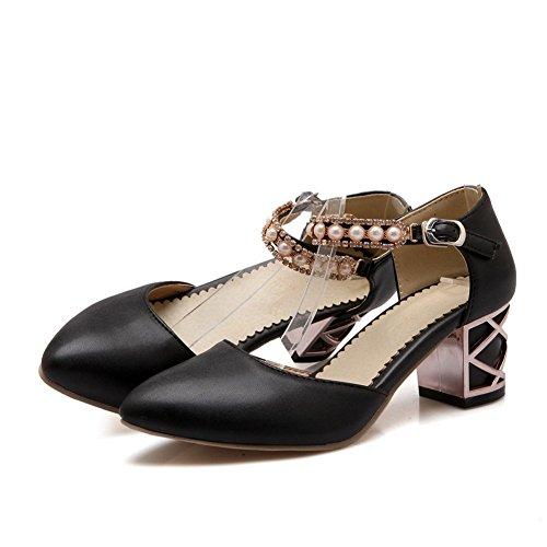 Adee Mädchen Perlen Schnalle Polyurethan Sandalen, Schwarz - schwarz - Größe: 34
