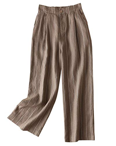 (Aeneontrue Women's 100% Linen Wide Leg Pants Capri Trousers Back with Elastic Waist (M, Style2_Dark Khaki))