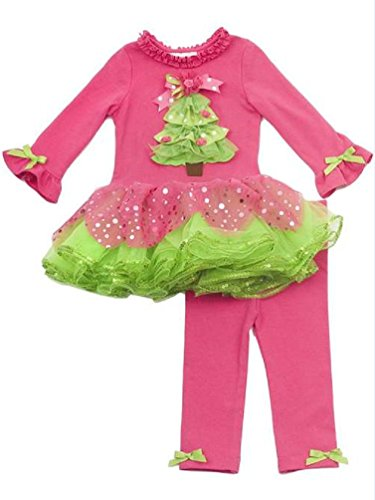 (Rare Editions Baby Girl Holiday Christmas Tree Tutu and Leggings (6 months) )