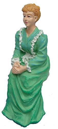 Melody Jane Dollhouse People Victorian Lady in Green Sitting Resin Figure ()
