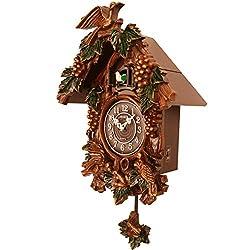 Sinix SN635C Handcrafted Antique Wooden Cuckoo Pendulum Wall Clock, Brown