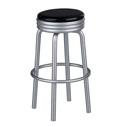 Strange Dollhouse Miniature Black Retro Diner Stool Ocoug Best Dining Table And Chair Ideas Images Ocougorg