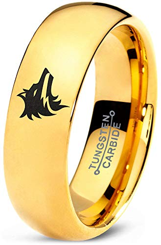 Zealot Jewelry Tungsten Wolf Wolfpack Pack Canine Dog Band Ring 7mm Men Women Comfort Fit 18k Yellow Gold Dome Polished Size ()