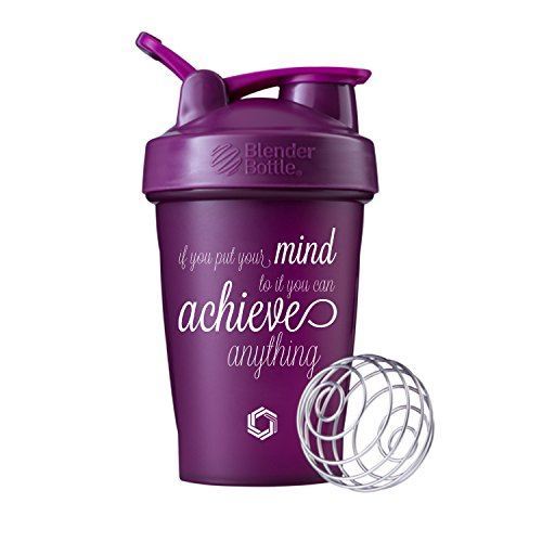 Achieve Anything Blender Bottle Shaker Cup, 20oz Classic Blender Bottles (Plum – 20oz)