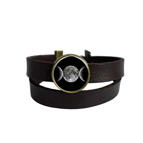 Triple Moon Cameo Keychain Round Pendant Leather Bracelets Glass Cabochon Key Rings Stainless Steel Metal Handmade Charm Bangle Bracelet