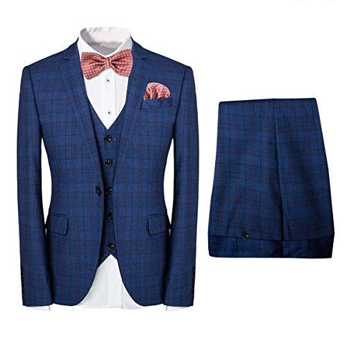 Men's One-Button Designer Luxurious Suits Plaid Tuxedos 3-Piece Set Blue ()