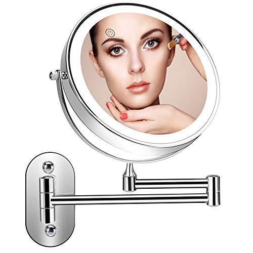 Supersail 1X &10X Magnifying Double Sided Vanity Makeup Mirror with Light and Touch Dimmer, 7.9 inch, Wall Mount, Round, Chrome - Makeup Magnifying