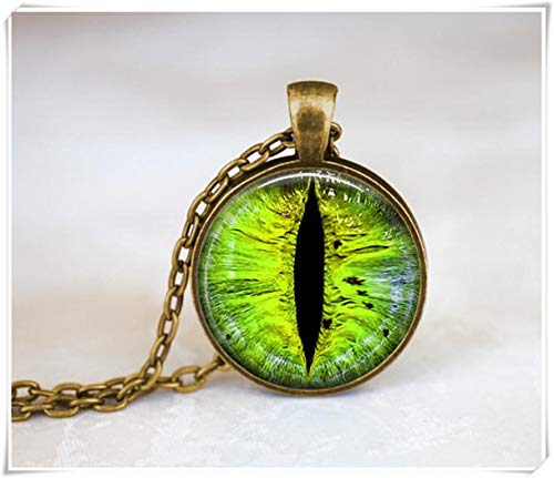 Dragon Eye Necklace, Green Eye Pendant ,Dome Glass Ornaments, Hand-Made
