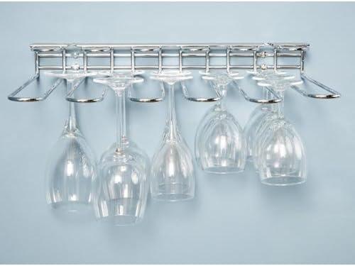 vidrio cromo 53cm CKB Ltd/® Estante de cristal montado en la pared para debajo del armario sostiene cualquier tipo de copas de vino y copas de cristal 6 Row