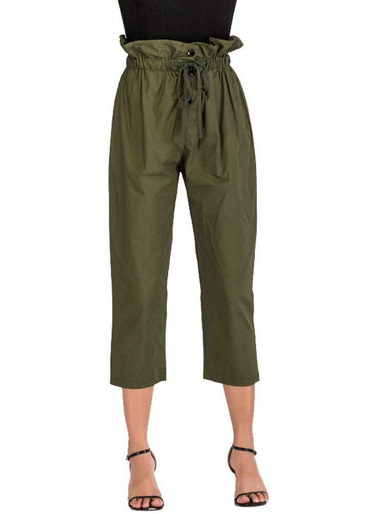 Romacci Fashion Women Pants Solid Color Ruched High Waist Casual Tie-Waist Work Office Cropped Trousers Green