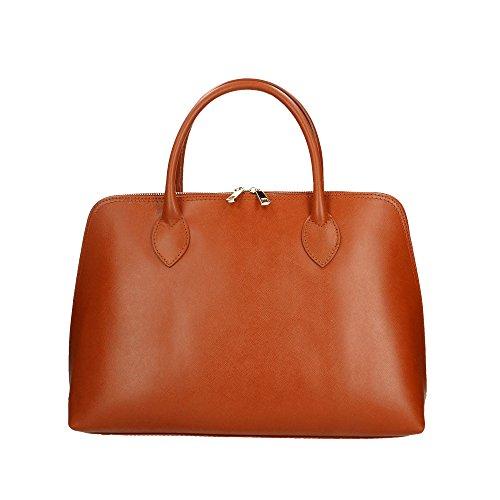 Aren Handbag Borsa a Mano da Donna in Vera Pelle Made in italy - 37x27x12 Cm Marrone