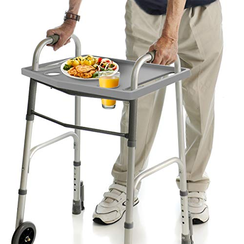 Bluestone Walker Tray- Upright with 2 Cup Holders-Universal Table Fits Most Standard Folding Walkers-Home Mobility Medical Equipment Accessories