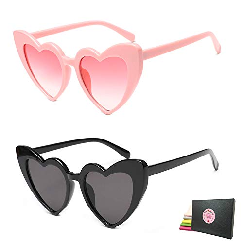 Heart Shaped Retro Cateye Sunglasses for Women, Party Favors Supplies, Red Pink Beige White Black Leopard Eye Wears (Pink + - Party Womens Sunglasses