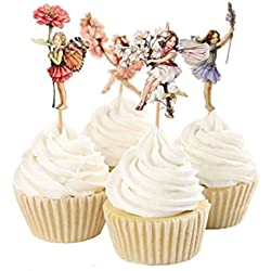 UINKE 24 Pcs Pretty Flowers Fairy Dessert Muffin Cupcake Toppers Food Picks for Wedding Baby Shower Birthday Party