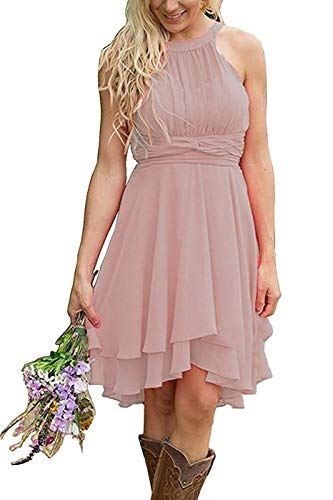 (Meledy Women's Halter Hi-Lo Chiffon Bridesmaid Dress Short A-line Evening Gown Beach Wedding Party Dress Pale Pinkish Grey US12)