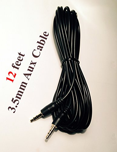 12' Car Audio Stereo (12 FT CAR AUDIO 3.5MM JACK AUX AUXILIARY CABLE IPOD MP3 AUDIO MALE PLUG ADAPTER)