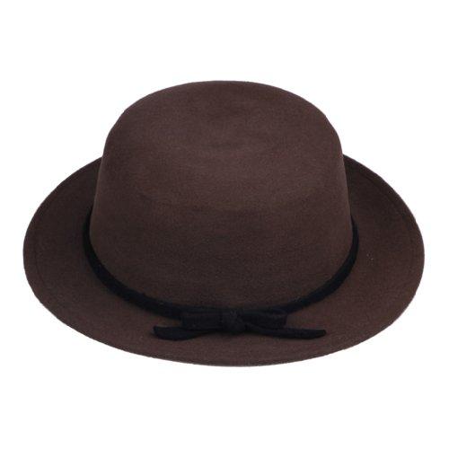 JTC Womens Wool Felt Bowler Hat Trim Bucket Cap Bowknot (coffee) - Felt Bucket