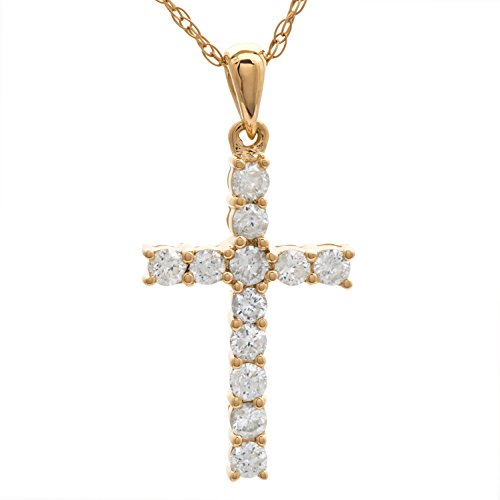 Diamond Cross Pendant in 14k Y
