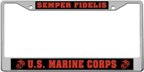 Semper Fidelis - US Marine Corps Custom License Plate METAL Frame from Redeye Laserworks