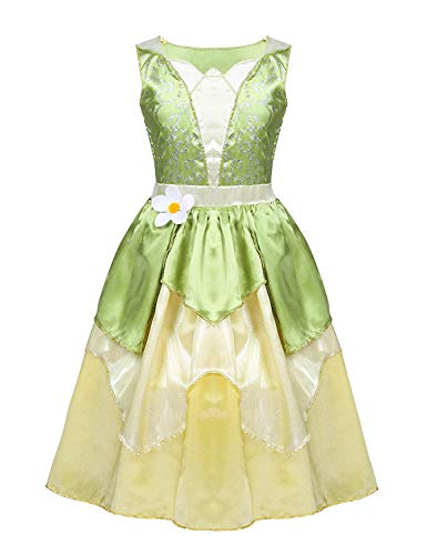 Hinlot Tiana Princess Classic Fancy Dress Dress up Costume for Girls (Lime Green, S ()