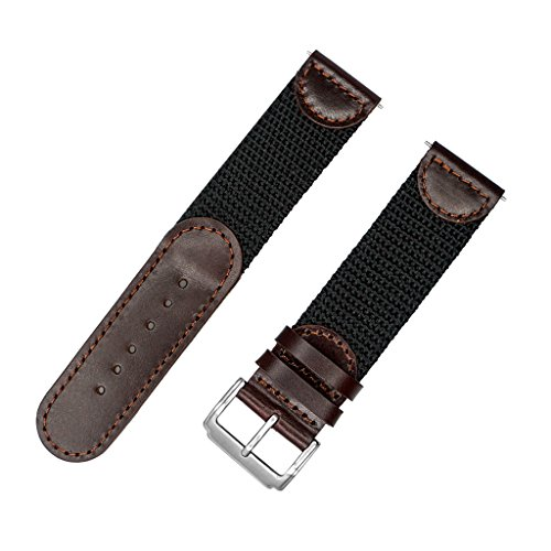 IVAPPON Men's Calfskin Leather and Nylon NATO Watch Strap Swiss-Army Style Watch Band (Brown with Black, 22mm)