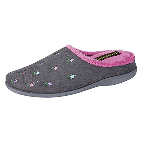 Mule Slippers Foam Pink Sleepers Floral Memory Womens Isabella Gray Ladies 0qRZH