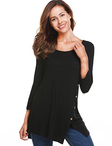 Asymmetrical Sleeve (Halife Women's 3/4 Sleeve Asymmetrical Hem Button Trim Tunic T Shirt Black Large)