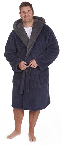 Men's Big & Tall Luxury Snuggle Fleece Dressing Gown (Sizes 3Xl-5XL) Plush Bath Robe With Hood (Big And Tall Mens Robes)