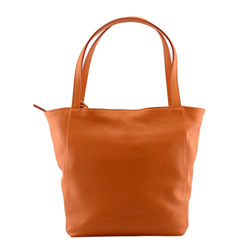 Shopper In Vera Pelle Colore Arancione - Pelletteria Toscana Made In Italy - Borsa Donna