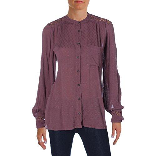 Free People Crochet Back Top - Free People Womens Crochet Back Gauze Button-Down Top Purple M