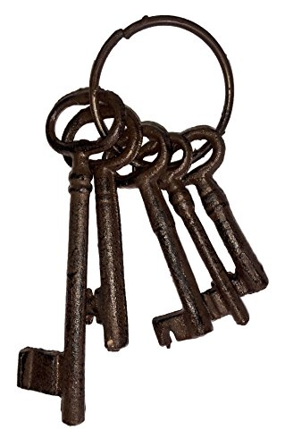 Salomé Idea(TM Large Size Antique Vintage Cast Iron Wall Rack, Key Holder, Handcraft Coat Rack (5 Keys-Brown)