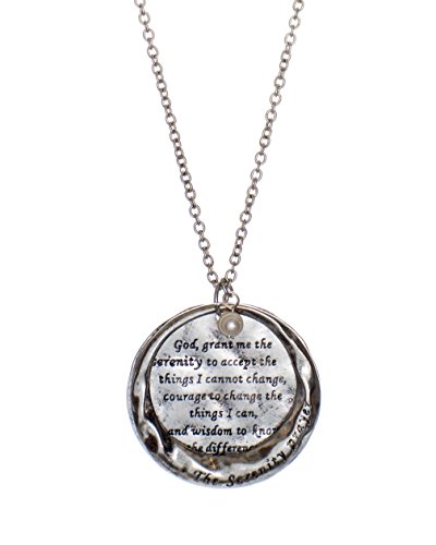 The Serenity Prayer Stamped Round Hammered Disc Pendant Necklace, (Textured Disc Necklace)