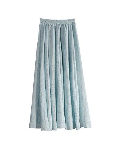 Femme Rtro Pliss Jupe Maxi Longue De Plage Bohme Elgante Classique Long Skirt Taille Elastique En Coton Lin Grande Taille Azur