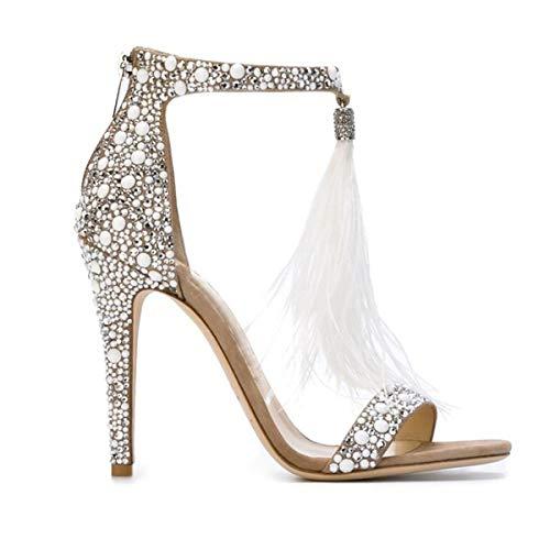 Pofameeta Women Sandals High Heels Rhinestones Thin Heel Beige Black Plus Size Summer Shoes Open Toe Tassel Pendant Women Pumps (8.5, Beige) ()