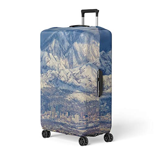 Pinbeam Luggage Cover Zoomed in View of Downtown Salt Lake City Travel Suitcase Cover Protector Baggage Case Fits 22-24 inches