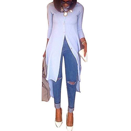 Printemps Chemise Bouton Dsinvolte Uni Haut Blouse Vintage Manche Longue Manches teint Femme Mode Mode lgant Spcial Style Automne Longues Tops Hellblau Shirt Jeune Asymtrique qwEwOa8B