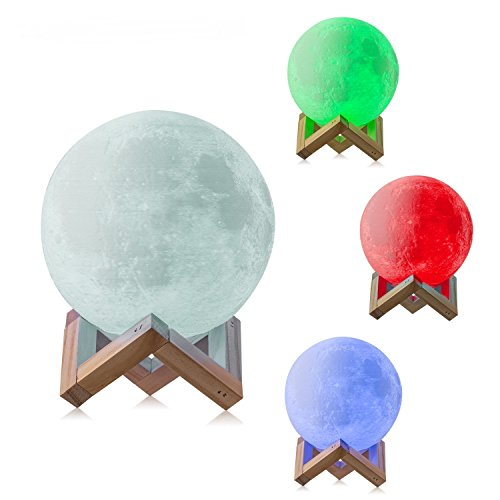 Gahaya 16 Colors 【Seamless】 Moon Lamp, 【Remote】 & Touch Control, Unibody Forming 3D Printed, PLA material, USB Recharge, Diameter 7.1''/18cm by Gahaya (Image #4)
