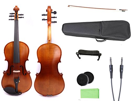 Yinfente 4/4 violin 5 string Electric violin Full size Maple Spruce wood Big jack Ebony wood Violin parts Sweet Sound ()