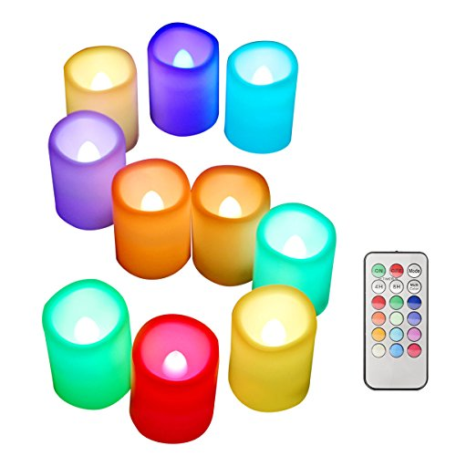 ESHOW Pack of 10, Color Changing LED Flameless Candle Lights, Nonflammable Battery Operated Unscented Safe Candles with Remote Control and Timer, D1.5