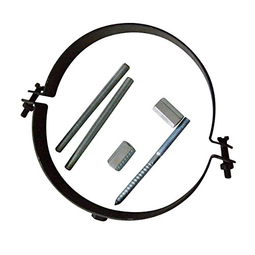 Kamino-Flam Collier de Serrage de Tuyau Réglable, Support de Tuyau de Cheminée en Acier Revêtu de Senotherm, Set de Montage Inclus, Ø 150 mm, Noir