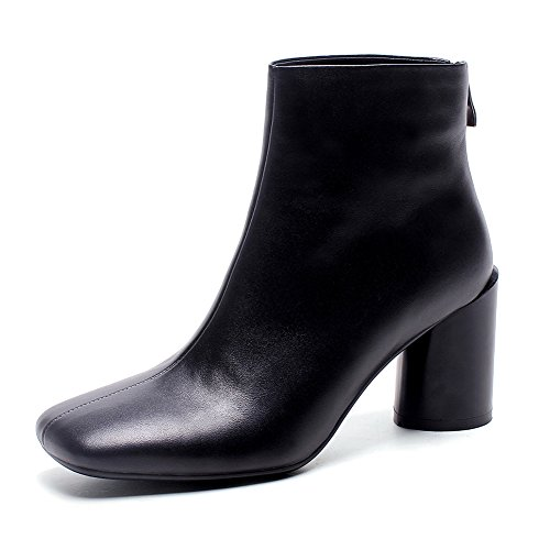 Black Botas 34 Mujer Antideslizante q3017 Moda invierno Wsxy De Dedo Botines Oto Kjjde Redondo O SHwOzpqq