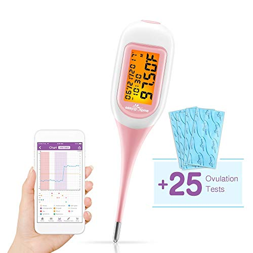 Easy@Home Smart Basal Thermometer with Bonus 25 LH Ovulation Test Strips, Ovulation and Period Tracker with APP, Large screen and Backlit, Auto BBT Sync, Charting, Coverline and Accurate Fertility Pre