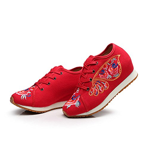 Fanwer Womens Canvas Geometric Embroidered Cloth Shoes Increased Flats Casual Walking Sneakers Fashion Traveling Shoes Diechi-red 3CFfF4mets